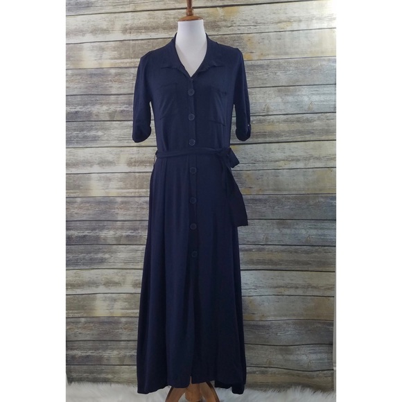b5700dfacce Zara Dresses | Nwt Navy Blue Belted Maxi Shirt Dress | Poshmark